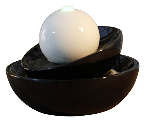 Zen\'Light Zen Flow Zimmerbrunnen mit LED-Beleuchtung, aus Keramik, schwarz/weiß, 23x 23x 18cm