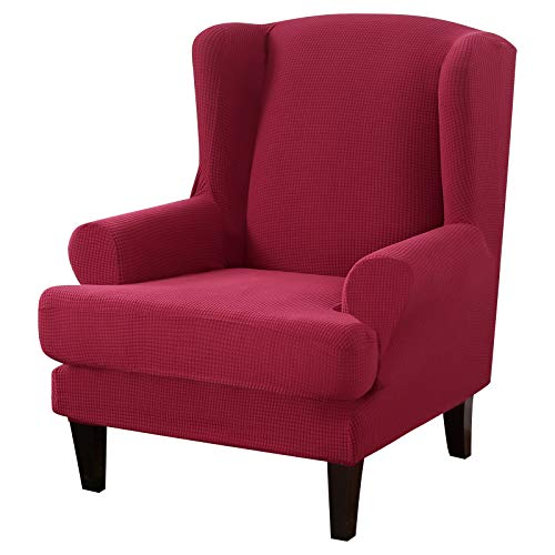 NIBESSER Wing Chair Slipcovers 2-Piece Stretch Jacquard Spandex Fabric Wingback Armchair Chair Slipcovers Couch Covers Furniture Protector Machine Washable Sofa Covers Small Checks (Red)