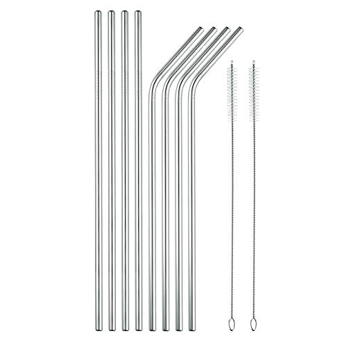 Stainless Steel Straws, ZIIDII Reusable Ultra Long 10.5 inch Metal Drinking Straws Fits All 20 30oz Cups Yeti Ozark Trail Rtic Tumblers + 2 Cleaning Brush (10.5in - Set of 8)