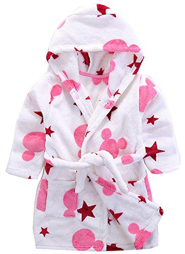 Boys & Girls Bathrobes, Plush Soft Coral Fleece Animal Hooded Sleepwear for Kids Star 3T