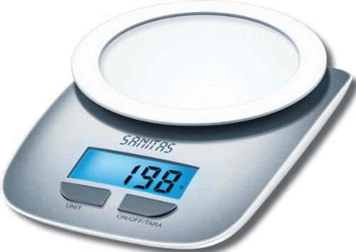 Sanitas SKS 20 Küchenwaage (mit praktischer TARA-Zuwiegefunktion und großer LCD Anzeige)
