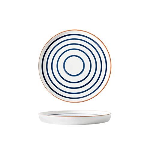 LYY Plato de Cena de bistec de Porcelana de 8 Pulgadas de la Vendimia, bistec de la casa Pintada a Mano, Pasta y Placas de Ensalada, Adecuado para familias, restaurantes y hoteles (Color : Ripples)
