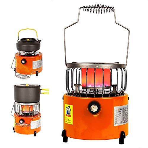 LYMHGHJ Estufa de calefacción portátil 2 en 1, Calentador de Gas licuado, Estufa de Parrilla, Calentador de Gas al Aire Libre, Estufa de Camping, 2000 W, pequeña y Conveniente