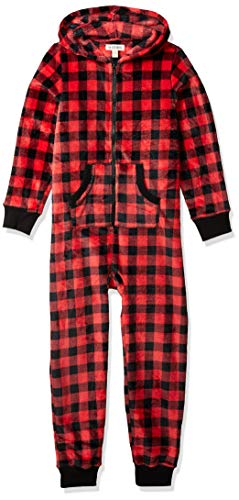 Hatley Little Blue House by Hooded Fuzzy Fleece Family Jumpuits Mono, Red (Kid's Jumpsuit - Plaid), 12 (Size: 12 Years) para Mujer