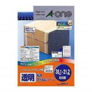エーワン A-One インクジェットプリンタラベル 透明光沢フィルム 38.1mm×21.2mm 65面 A4判 10シート 28974