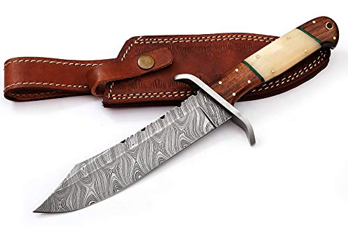 Custom hand made damascus steel fixed blade hunting knife WT-2717 skinning knives for men best Survival Knives with sheath