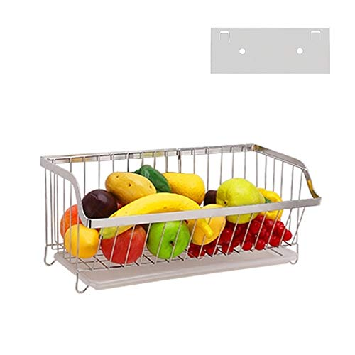 Lesleylesley Lm For 304 Stainless Steel Wall Mounted Kitchen Rack Hanging Vegetable Fruit Basket Kitchen Shelving New One Dailymail