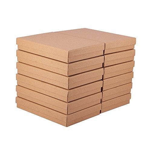 BENECREAT 12 Pack Collier Bague Boîte 18x12.5x3cm Kraft Brun Rectangle Boîtes À Bijoux en Carton Grand Boîte-Cadeau pour Anniversaire De Fête De Mariage