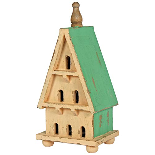 Interior Flair Vintage Style Cream Green Hanging Nesting Box Slanted Roof Bird House