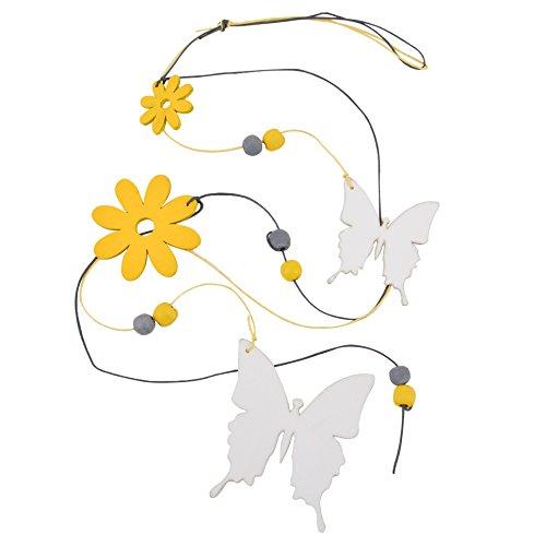 Dadeldo Girlande Blüten Schmetterlinge Design Deko Holz 75x8x1cm (Design 2)