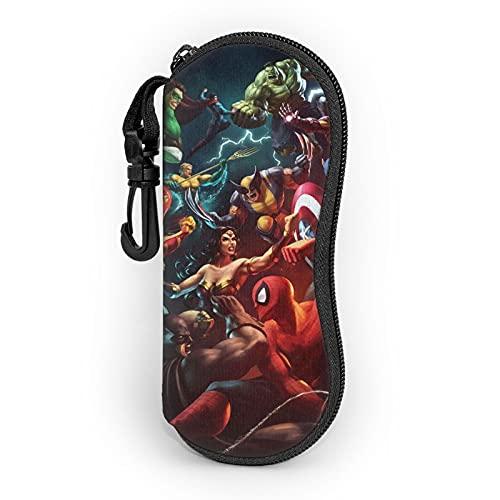 Spider Cartoon Man Hulk Iron Man Ultra-Light Portátil Neopreno con cremallera Hard Shell Gafas caso con mosquetón Gafas de sol caso para hombres y mujeres