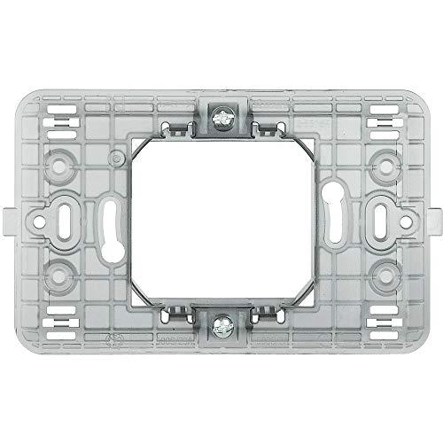 Bticino S503S/2A/1F Supporto 2 Moduli (Scatola Tonda o 502E) -Fissaggio con Clips o Viti