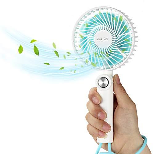ELZO Ventilatore Portatile palmare Ventola USB Ricaricabile Ventola a Batteria 2600mAh Mini Ventilatore Personale Elettrico per Ufficio/Esterno/Campeggio/Passeggino