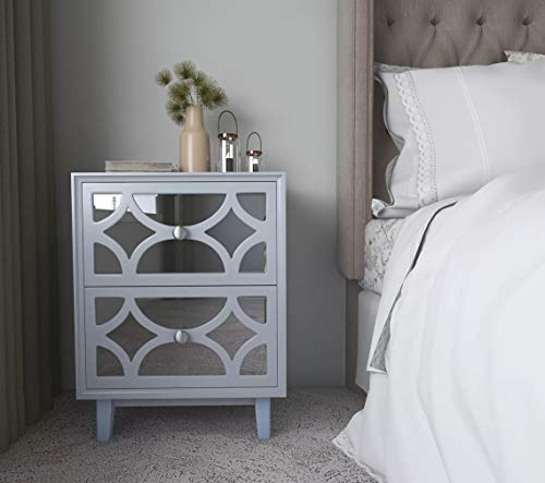 COZAYH Modern Clean-Lined Nightstand, Double Mirror Front Drawers w/Geometric Overlays, Side Table, Sofa End Table,Light Gray