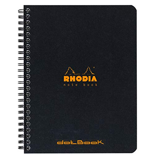 Rhodia 193439C Notizbuch (mit Doppelspirale, Dot grid, DIN A4+, 160 x 210 mm, 80 Blatt) 1 Stück schwarz