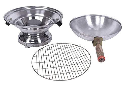 Kuber Industries Aluminium Multi Purpose Oven, Gas Tandoor, Barbeque Griller/Bati/Pizza Maker (Set of 1, Silver)-KUBMART11725, Standard