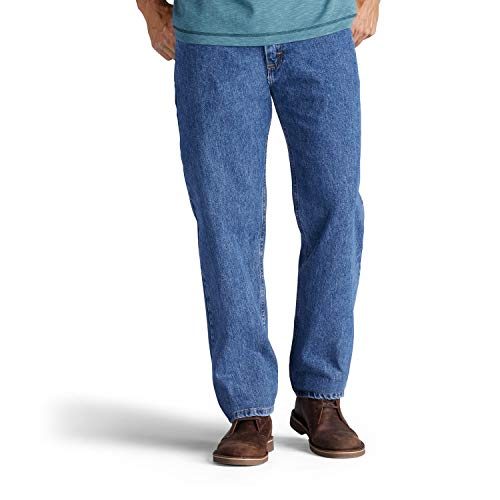 Lee Men's Relaxed Fit Straight Leg Jean, Medium Stone, 38W x 30L