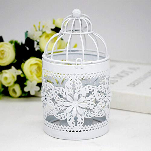 Bird Cage Metal Hollow Out Decorative Birdcage Iron Candle Holder Candlestick Hanging Lantern (White) (B)