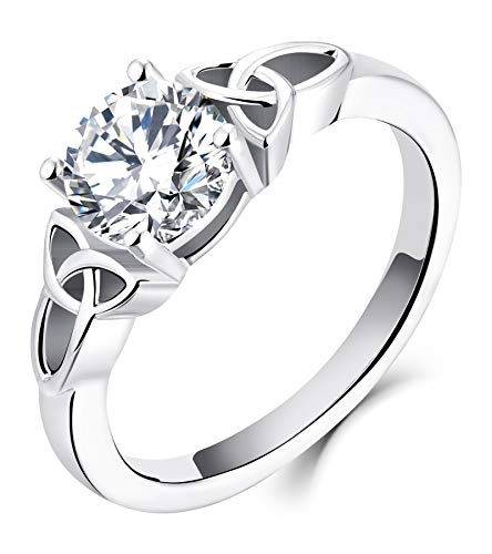 YL Celtic Knot Rings for Women 925 Sterling Silver Cubic Zirconia 18k White Gold Plated Statement Rings-size8
