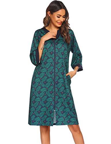 EkouaerHouse Dresses for Women Robe Zip Up House Coat 3/4 Sleeve Nightgown Comfy Sleepwear Print Loungewear with Pockets Small