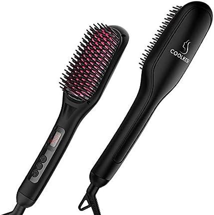Cepillo para alisar el cabello iónico, de Coolkesi, 30 s, de cerámica de calentamiento rápido MCH con función antiescaldaduras, apagado automático y doble voltaje, peine de alisado eléctrico sedoso sin encrespamiento