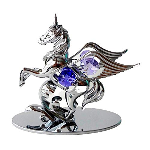 Crystocraft Pegasus Winged Horse Pony Unicorn Mythical Crystal Ornament With Swarovski Elements Gift Boxed Purple Crystals Chrome Plated Perfect Keepsake Collectors Gift Figurine Home Decor Present