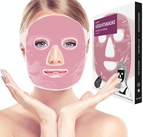 ICEHOF Kühlmaske mit Tonerde - Kühlende Maske für das Gesicht - Wohltuende Wellnessmaske - Entspannungsmaske wirkt beruhigend & schmerzlindernd - Gesichtsmaske (Rosa)