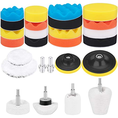 Awpeye 26PCS Buffing and Polishing Pads Kit 3Inch & 5Inch with Buffing Wheel for Drill Foam Polisher Pad for Car Waxing, 1/4 Inches Hex Shafts White Flannelette Polishing Wheel