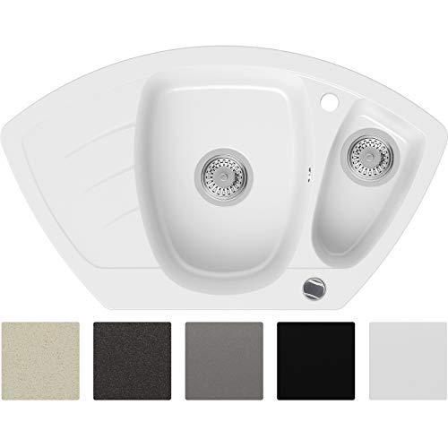 Granitspüle Weiß 83,5 x 49,5 cm, Spülbecken + Siphon Automatisch, Eckspüle ab 60er Unterschrank in 5 Farben mit Siphon und Antibakterielle Varianten, Küchenspüle von Primagran