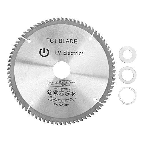 Hoja de sierra circular, 185mm × 30mm 80 dientes Disco de corte de madera Sierra de corte con 3 piezas Anillos de reducción para cobre, hierro, aluminio, plásticos, madera, etc.