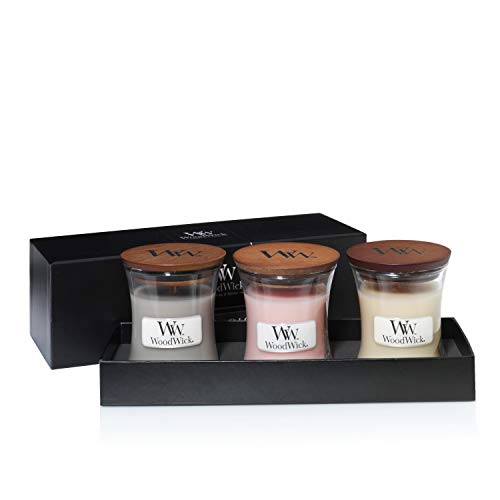 Woodwick cadeauset voor open haard op het vuur. 3 Small Jar Gift Set