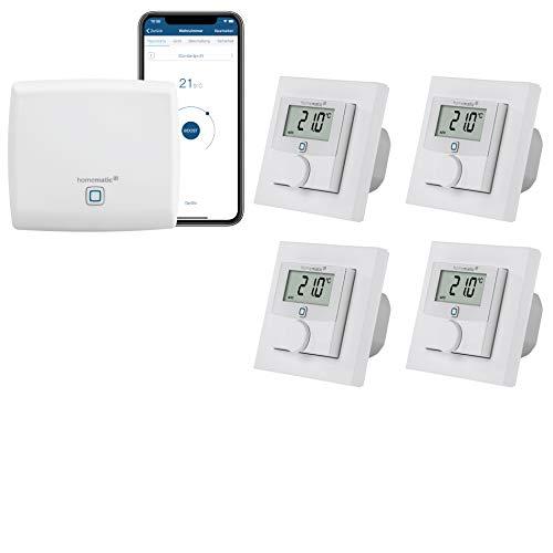 Homematic IP kabelgebundene Fußbodenheizungssteuerung zur Einzelraumregelung in 4 Räumen - Zentrale und 4 programmierbare Wandthermostate mit Schaltausgang.