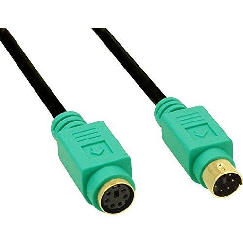 InLine 13343H PS/2 Verlängerung, Stecker / Buchse, 3m PC99, grüne Stecker, PREMIUM