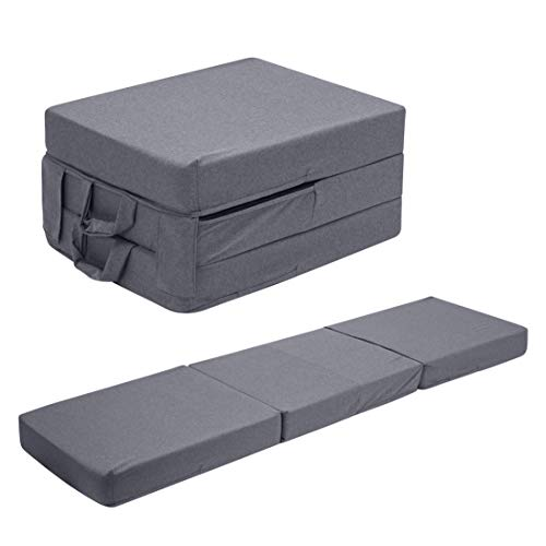 UTZ Fold Out Foam Guest Z Bed Single Chair Folding Mattress Sofabed Futon Chairbed Z Bed Grey
