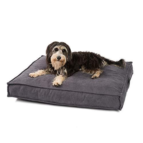 JAMAXX Premium Hundekissen Orthopädisch Weich Memory Foam, Waschbar, Nässeschutz Wasserabweisend - Dicke Füllung Visco Elastische Flocken, Flauschig Samtartiger Stoff, PDB1001 grau (M) 90x70