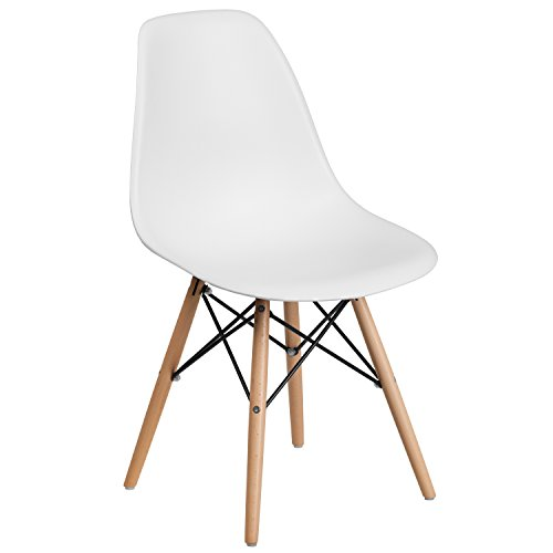 Flash Furniture Elon Series White Plastic Chair with Wooden...