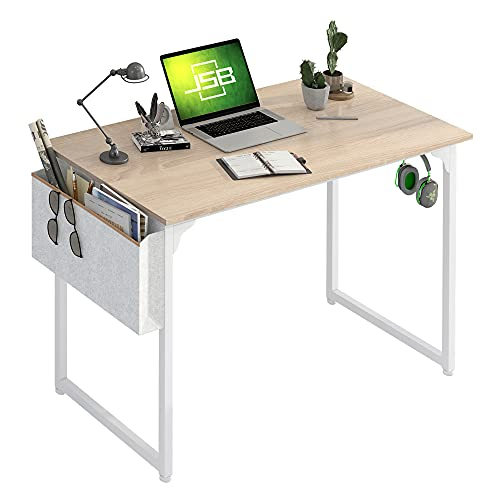 """JSB Small Computer Desk 39"""" with Storage Bag and Hook, Home Office Desk Laptop Study Writing Table - Natural & White"""