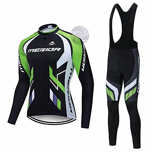 XGFHX Maglia da ciclismo da uomo maglia da ciclismo a maniche lunghe con cuscino del sedile 5D traspirante confortevole e calda