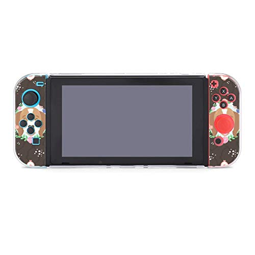 Adorable Puppy Floral Dockable Protective Case Cover for Nintendo Switch Compatible with Nintendo Switch Console and Joy-Con Controller