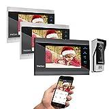 TMEZON Wireless Video Door Phone Doorbell Intercom System, 7 Inch Wifi Monitor with Wired Outdoor Camera 1200TVL Door Release