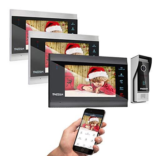 TMEZON Wireless Video Door Phone Doorbell Intercom System, 7 Inch Wifi Monitor with Wired Outdoor Camera 1080P Door Release