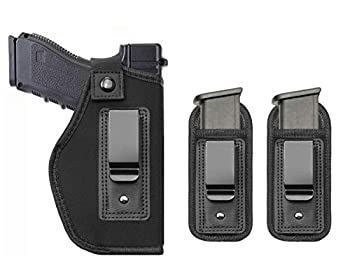 TACwolf Universal Magazine IWB Holster for Concealed Carry Pouch Single Double Stack Inside The Waistband Fits Firearms Glock 19 17 26 27 43 S&W M&P Shield 9/40 1911 Taurus PT111 G2 Sig Sauer Ruger