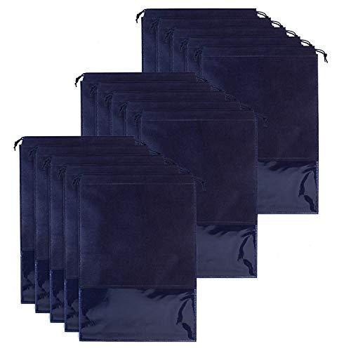 Whaline 15 Stück Schuhbeutel, Große Nicht Gewebte Kordelzug Schuhe Aufbewahrungsbeutel mit Transparentem Schlitz für Männer und Frauen (Marineblau)