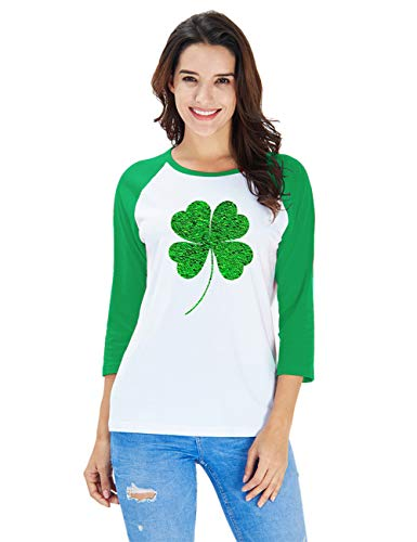 uideazone Irish Green Clover Heart St. Patricks Day 3/4 Women Sleeve Baseball Jersey Shirt