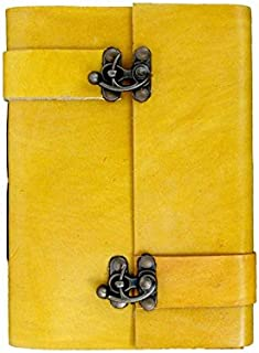 Anshika International Leather Journal Lock Diary Book, Hand Embossed Foliage Patterned Flap Cover for Gift Purpose Yellow ...