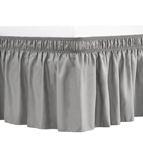 RIMELA Bed Skirt Wrap Around Elastic Dust Ruffles Solid Color Wrinkle and Fade Resistant with Adjustable Elastic Belt Easy to Install Silver Gray for Twin & Twin XL Size 15 Inch Drop