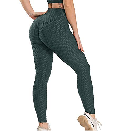 STARBILD Women's High Waist Ruched Butt Lifting Yoga Pants Tummy Control Stretchy Leggings Booty Textured Workout Tights L