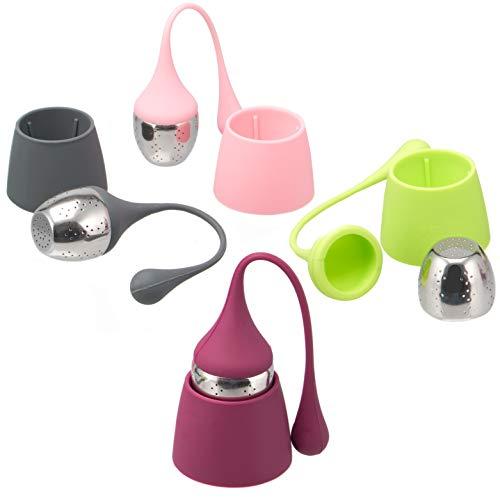 bremermann Tee-Eier 4er Set Edelstahl und Silikon, 4 Farben im Set, Teesieb Teekugel