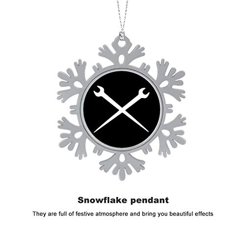 BUN T Ironworker Crossed Tools Personalized Christmas Snowflake Ornaments Alloy Xmas Tree Hanging Decorations