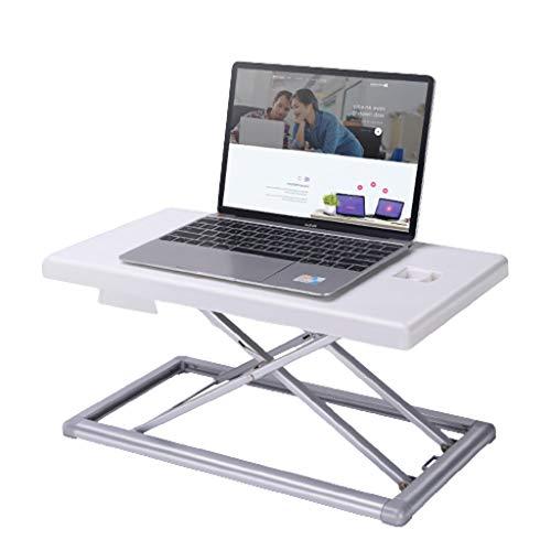 QIFFIY Tavolino Pieghevole Postazione di Lavoro in Piedi Desk Converter Regolabile in Altezza ergonomica Sit Stand scrivania Workstation for Computer PC Schermo del Computer Portatile (Color : White)